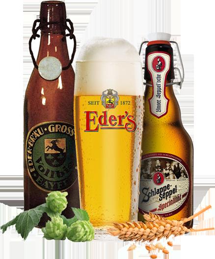 Verschiedene Sorten Eder Bier aud ser Eder Bier Familie